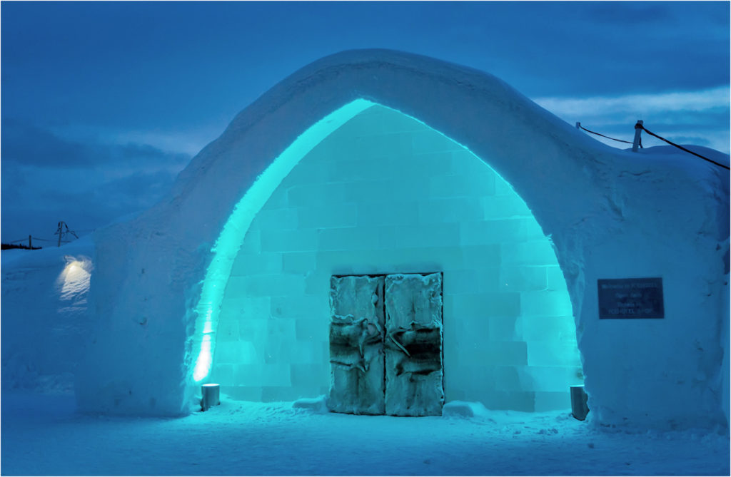 Ice Hotel Entrance At Night