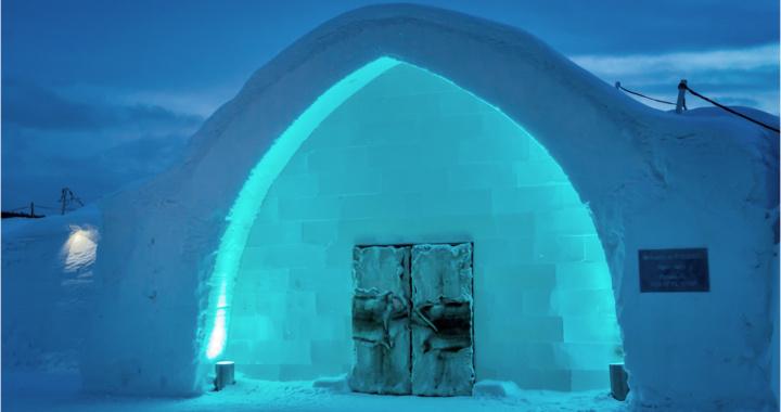 Ice Hotel Entrance At Night